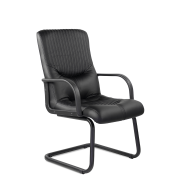 Конференц-стул низкий Гермес ПЛ/St/О, кож/зам