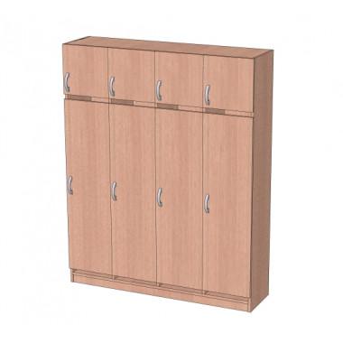 Шкаф в раздевалку с антресолью 4-х секционный