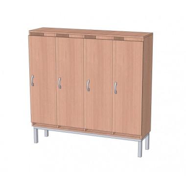 Шкаф в раздевалку 4-х секционный на металлокаркасе