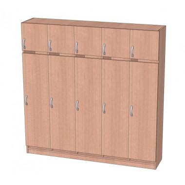 Шкаф в раздевалку с антресолью 5-ти секционный