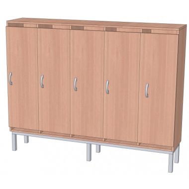 Шкаф в раздевалку 5-и секционный на металлокаркасе