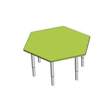 Стол Шестиугольник с регулируемой высотой на металлокаркасе