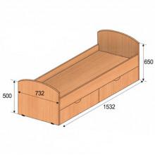 Кровать детская с ящиками, 1532x732x650мм, ФДС19