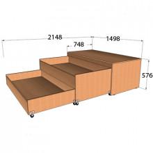 Кровать двухъярусная в тумбе, 1498x748(2148)x576мм, ФДС20