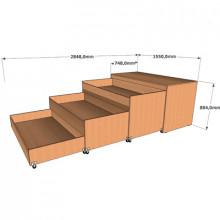 Трехъярусная кровать в тумбе, 1550x748(2848)x804мм, ФДС21