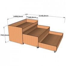 Кровать трехъярусная без тумбы, 1498x748(2148)x749мм, ФДС22