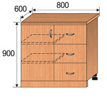 Тумба кухонная напольная, 800x600x900мм, ФКУХ03