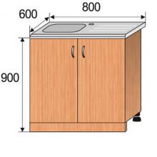 Тумба кухонная напольная с мойкой, 800x600x900мм, ФКУХ06