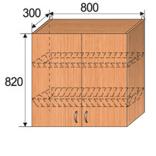 Шкаф кухонный подвесной, 800x300x820мм, ФКУХ09