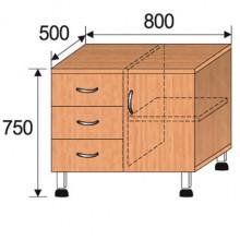 Тумба лабораторная, 800x500x750мм, ФТЛ03