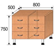 Тумба лабораторная, 800x500x750мм, ФТЛ06