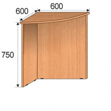 Секция приставная угловая, 600х600х750мм, ФПР04
