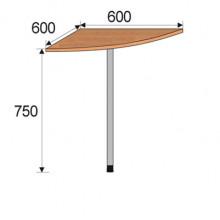 Секция приставная угловая, 600х600х750мм, ФПР05