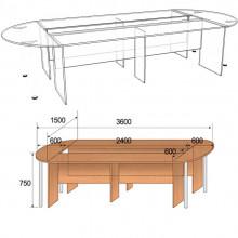 Стол для заседаний составной, 3600x1500x750мм, ФКЗ02