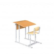Парта Эрисмана со скамьей одноместная, наклон крышки 0-90°, 60x50x52-64 см, ПРТрстП1.24