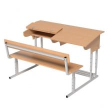 Парта Эрисмана со скамьей двухместная, 120x50x52-64 см, ПРТрстП2.24