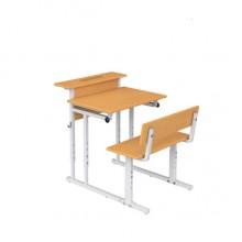 Парта со скамьей одноместная с полкой, наклон крышки 0-18°, 60x50x52-64 см, ПРТскП1.24