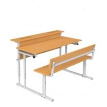 Парта со скамьей двухместная с полкой, наклон крышки 0-18°, 120x50x52-64 см, ПРТскП2.24