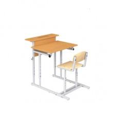 Парта с полкой и стулом одноместная, наклон крышки 0-18°, 60x50x52-64 см, ПРТстП1.24