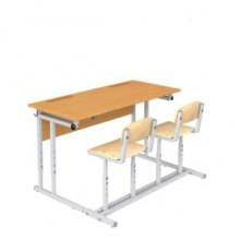 Парта с полкой и стульями двухместная, наклон крышки 0-18°, 120x50x52-64 см, ПРТстП2.24