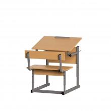 Парта со скамьей одноместная, наклон крышки 0-90°, 60x50x52-64 см, ПРТск1.24