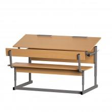 Парта со скамьей двухместная, наклон крышки 0-90°, 120x50x52-64 см, ПРТск2.24