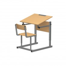 Парта со стулом одноместная, наклон крышки 0-90°, 60x50x52-64 см, ПРТст1.24