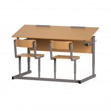 Парта со стульями двухместная, наклон крышки 0-90°, 120x50x52-64 см, ПРТст2.24