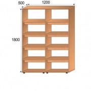 Стеллаж библиотечный двухсторонний, 1200х500х1800, ФМБ03